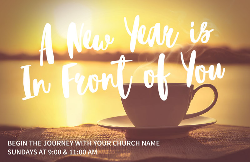 new year coffee cup postcard - church postcards