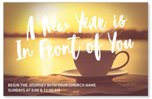 New Year Coffee Cup Postcards