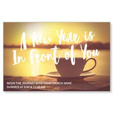 New Year Coffee Cup Postcard