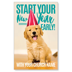 New Year Puppy Postcard