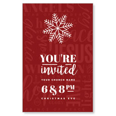 Red Christmas Words Postcard