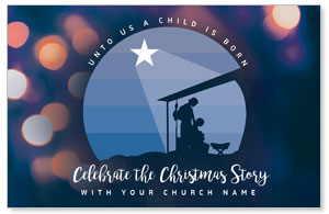 Unto Us Nativity Scene Postcards