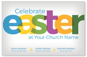 Color Bold Easter Church Postcards