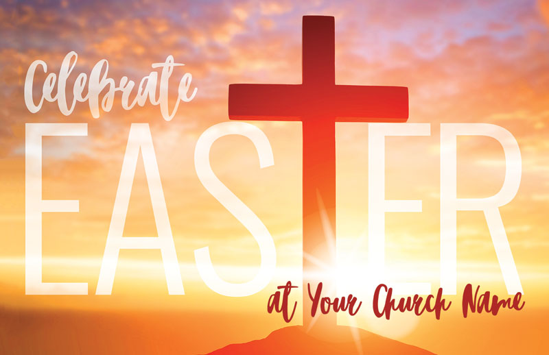 easter cross sunrise postcard