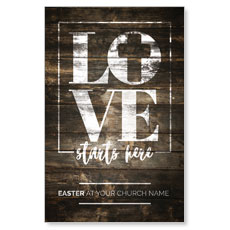 Love Starts Here Wood Postcard