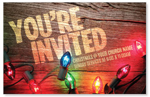 Invited Christmas Lights Church Postcards