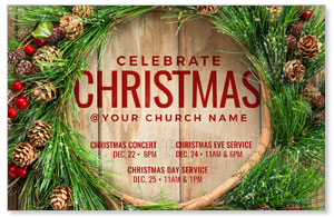 Wreath Celebrate Christmas Church Postcards