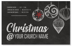 White Chalk Christmas Church Postcards