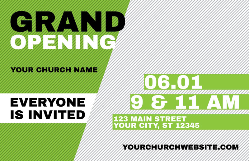 Grand Opening Invite Green Postcard Church Postcards Outreach