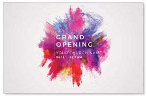 Color Burst Grand Opening Church Postcards