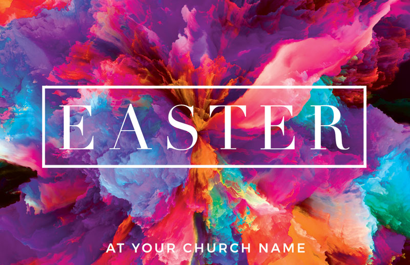 Church Postcards, Easter, Easter Color Smoke, 5.5 X 8.5