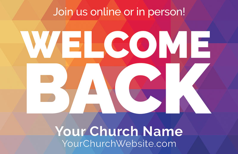 Church Postcards, Welcome Back, Geometric Bold Welcome Back, 5.5 X 8.5