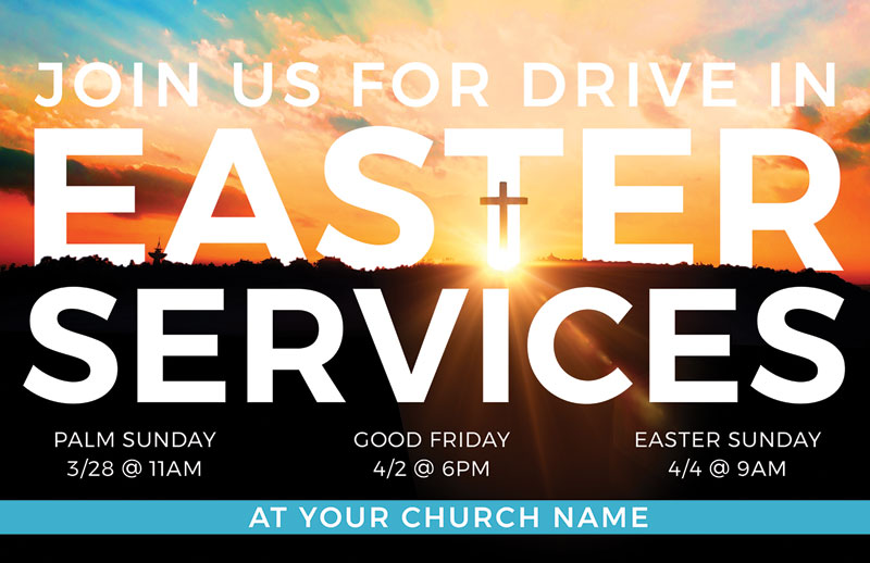 Church Postcards, Easter, Drive In Easter Services, 5.5 X 8.5