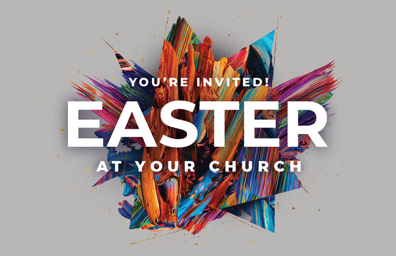 Church Postcards, You're Invited, CMU Easter Invite 2021 Grey, 5.5 X 8.5