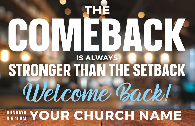 Church Postcards, Welcome Back, The Comeback, 5.5 X 8.5