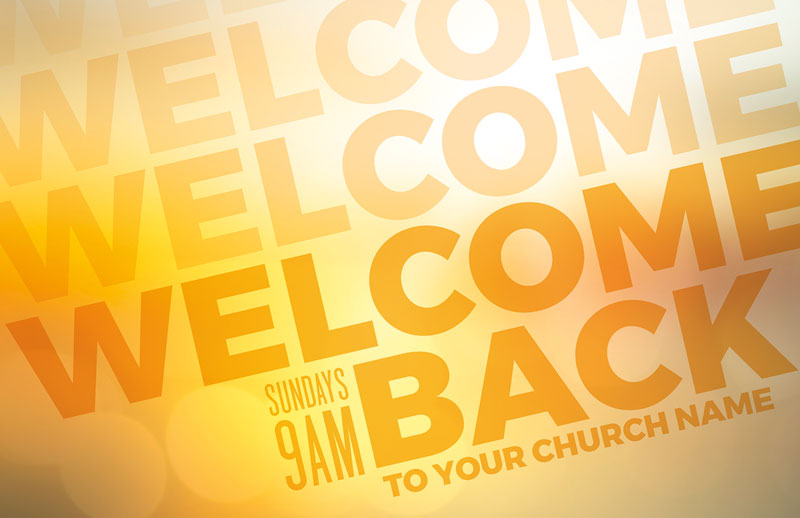 Church Postcards, Welcome Back, Welcome Back Yellow, 5.5 X 8.5