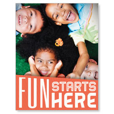 Fun Starts Here Small Postcard