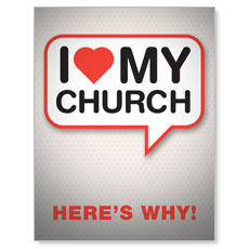 I Love My Church Small Postcard