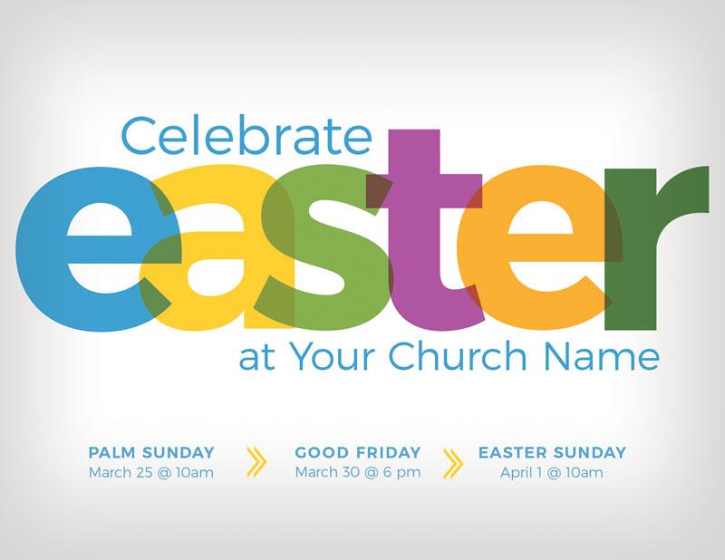 Color Bold Easter Invitecard Church