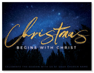 Night Sky Gold Script Christmas ImpactMailers