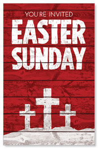 Easter Wood Red InviteCards