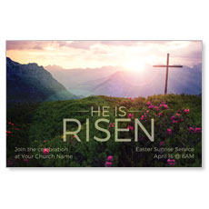 He Is Risen Mountain InviteCard