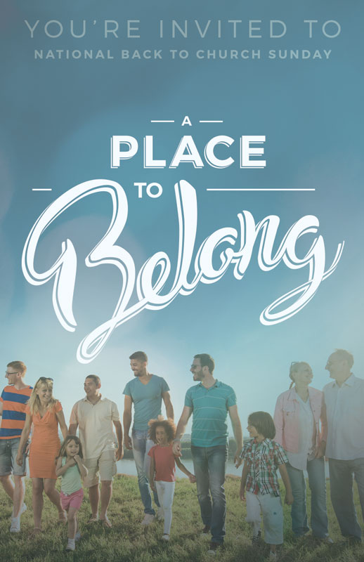 back to church sunday  a place to belong invitecard