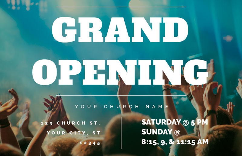 Grand Opening Crowd Invitecard Church Invitations Outreach Marketing