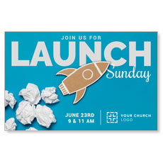 Paper Rocket Launch InviteCard