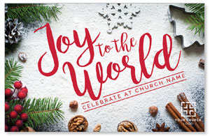 Joy To The World Snow Medium InviteCards