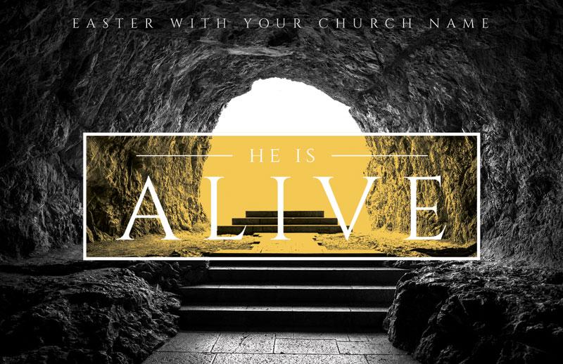 Alive Empty Tomb Invitecard Church Invitations