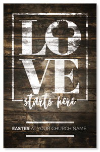 Love Starts Here Wood InviteCards