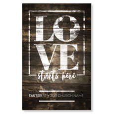 Love Starts Here Wood InviteCard