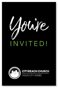 CityReach Black and Green Invited InviteCards