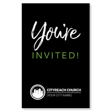 CityReach Black and Green Invited InviteCard