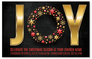 Gold Joy Wreath InviteCards