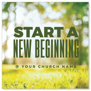 "Start New Beginning Green 4"" x 4"" Square InviteCards"