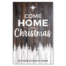 Dark Wood Christmas Come Home InviteCard