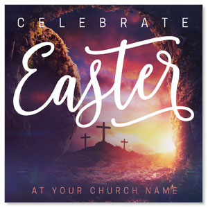 "Dramatic Tomb Easter 4"" x 4"" Square InviteCards"