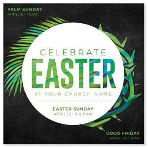 "Easter Palm Crown 4"" x 4"" Square InviteCards"