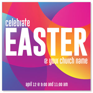 "Curved Colors Easter 4"" x 4"" Square InviteCards"