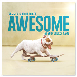 "Awesome Summer Dog 4"" x 4"" Square InviteCards"
