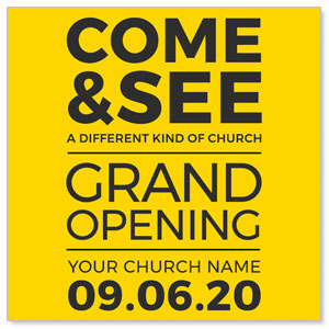 "Yellow Grand Opening 4"" x 4"" Square InviteCards"