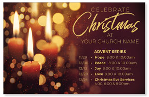 Celebrate Christmas Candles Medium InviteCards