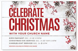 Celebrate Christmas Berries Medium InviteCards