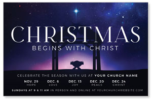 Begins With Christ Manger Medium InviteCards