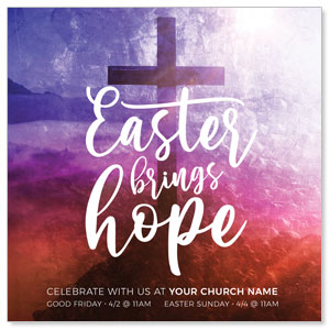 "Easter Brings Hope Cross 4"" x 4"" Square InviteCards"