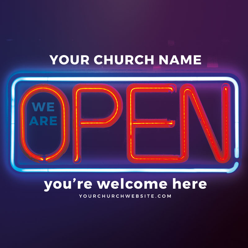 InviteCards, Welcome Back, Open Neon, 4 x 4