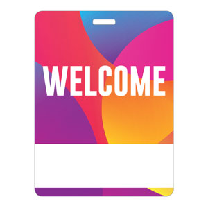 Curved Colors Welcome Name Badges