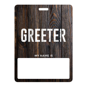Dark Wood Greeter Name Badges